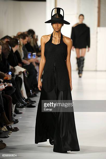 A model walks the runway during the Maison Margiela designed by John Galliano Spring Summer 2017 show as part of Paris Fashion Week on January 25...