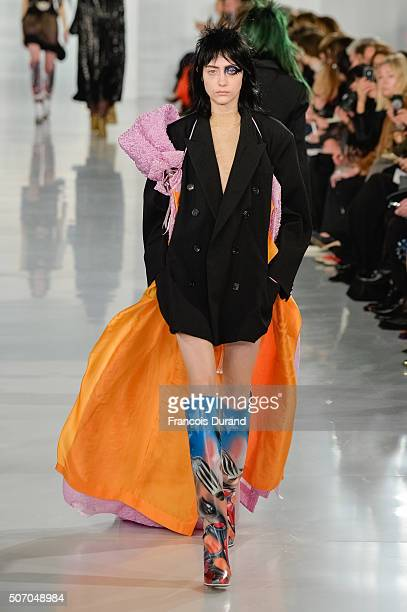 A model walks the runway during the Maison Margiela Haute Couture Spring Summer 2016 show as part of Paris Fashion Week on January 27 2016 in Paris...