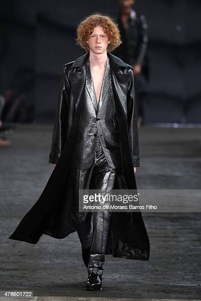 A model walks the runway during the Maison Margiela Menswear Spring/Summer 2016 show as part of Paris Fashion Week on June 26 2015 in Paris France