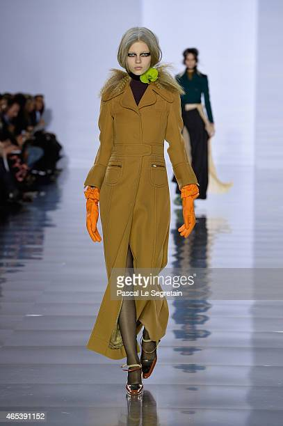 A model walks the runway during the Maison Margiela show as part of the Paris Fashion Week Womenswear Fall/Winter 2015/2016 on March 6 2015 in Paris...