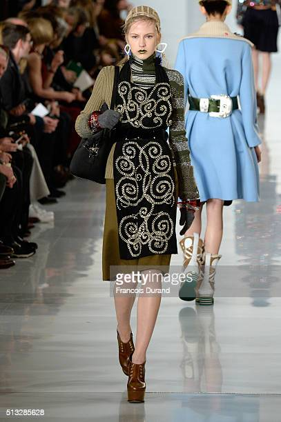 A model walks the runway during the Maison Margiela show as part of the Paris Fashion Week Womenswear Fall/Winter 2016/2017 on March 2 2016 in Paris...