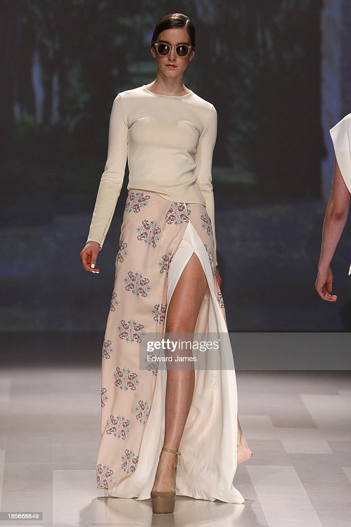 A model walks the runway during the Maison Matthew Gallagher fashion show at David Pecaut Square on October 23, 2013 in Toronto, Canada.