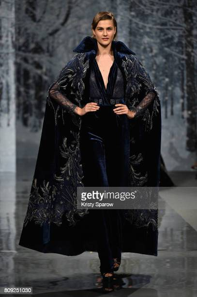 A model walks the runway during the Maison Ziad Nakad Haute Couture Fall/Winter 20172018 show as part of Haute Couture Paris Fashion Week on July 5...
