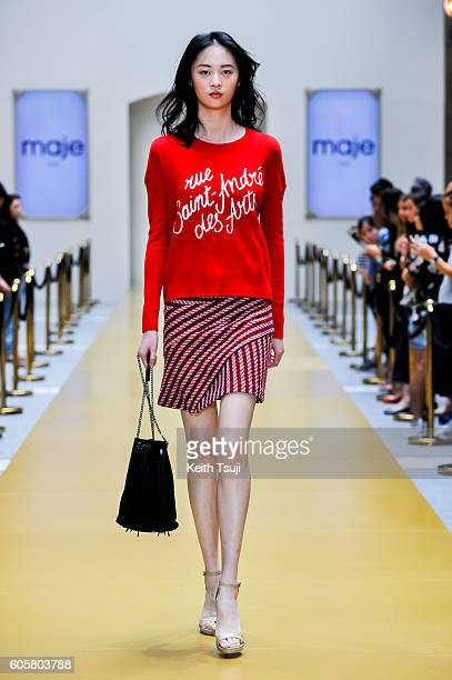 A model walks the runway during the MAJE show during the Front Row at Shoppes at Parisian on September 15 2016 in Macau Macau