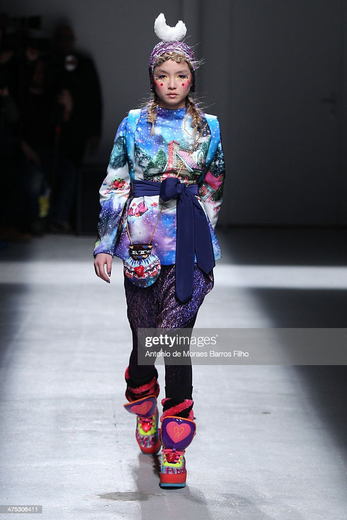 A model walks the runway during the Manish Arora show as part of the Paris Fashion Week Womenswear Fall/Winter 2014-2015 on February 27, 2014 in Paris, France.