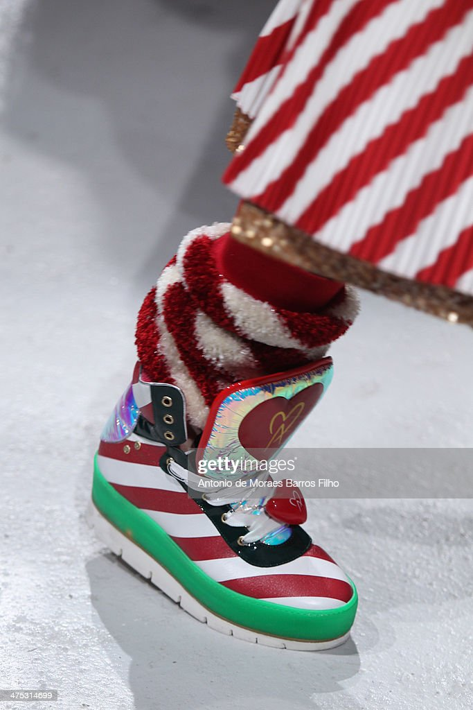 A model walks the runway (detail) during the Manish Arora show as part of the Paris Fashion Week Womenswear Fall/Winter 2014-2015 on February 27, 2014 in Paris, France.