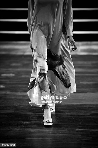 A model walks the runway during the Marcel Ostertag show at Admiralspalast at the MercedesBenz Fashion Week Berlin Spring/Summer 2017 at Erika Hess...