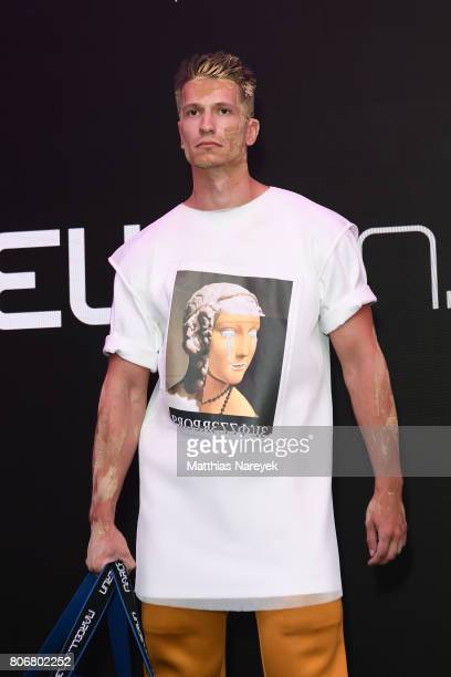 A model walks the runway during the Marcell von Berlin 'Genesis' collection presentation on July 3 2017 in Berlin Germany