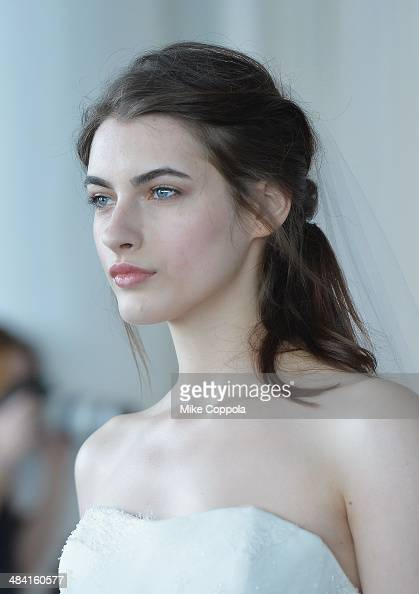 A model walks the runway during the Marchesa Spring 2015 Bridal collection show at Canoe Studios on April 11 2014 in New York City