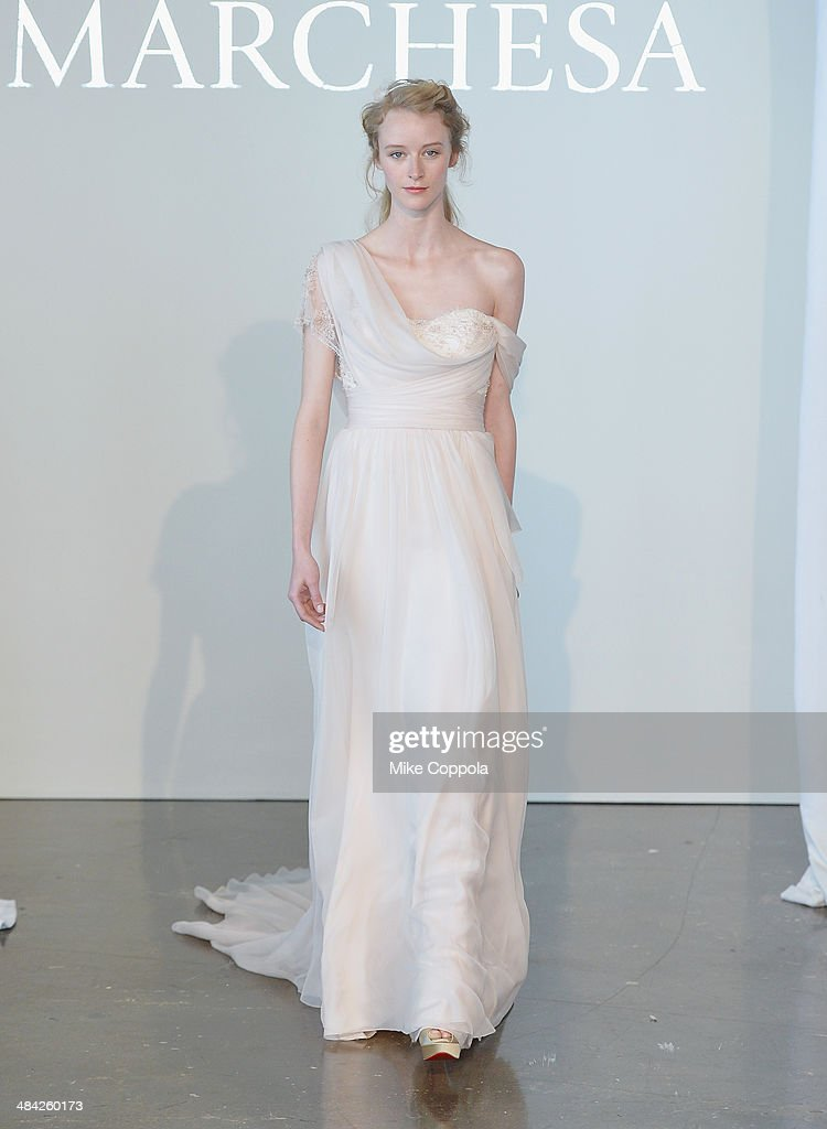 A model walks the runway during the Marchesa Spring 2015 Bridal collection show at Canoe Studios on April 11, 2014 in New York City.