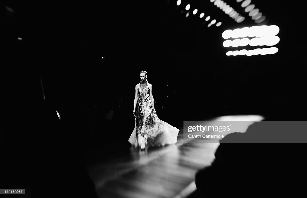 A model walks the runway during the Maria Grachvogel show as part of London Fashion Week Fall/Winter 2013/14 on February 19, 2013 in London, England.