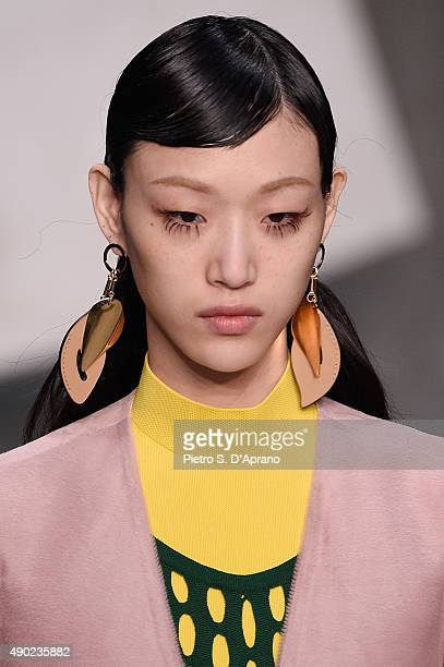 A model walks the runway during the Marni fashion show as part of Milan Fashion Week Spring/Summer 2016 on September 27 2015 in Milan Italy