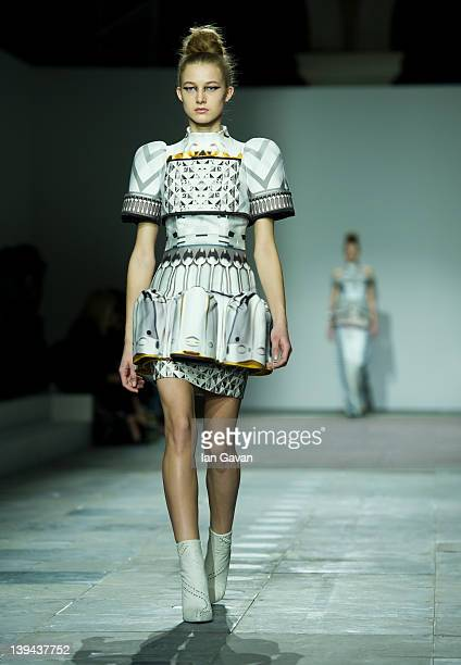 A model walks the runway during the Mary Katrantzou show at London Fashion Week Autumn/Winter 2012 at TopShop Venue on February 21 2012 in London...