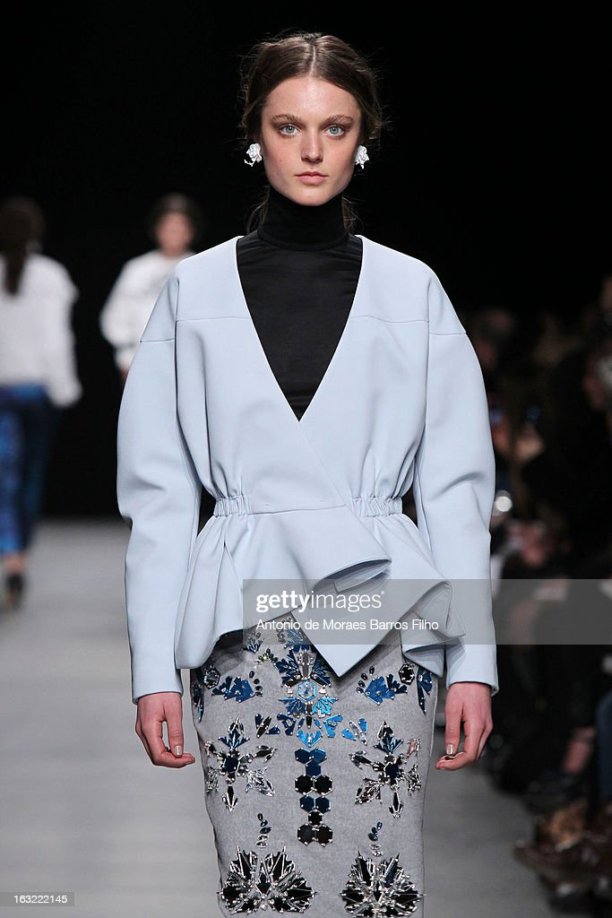 A model walks the runway during the Mashama Fall/Winter 2013 Ready-to-Wear show as part of Paris Fashion Week on March 6, 2013 in Paris, France.