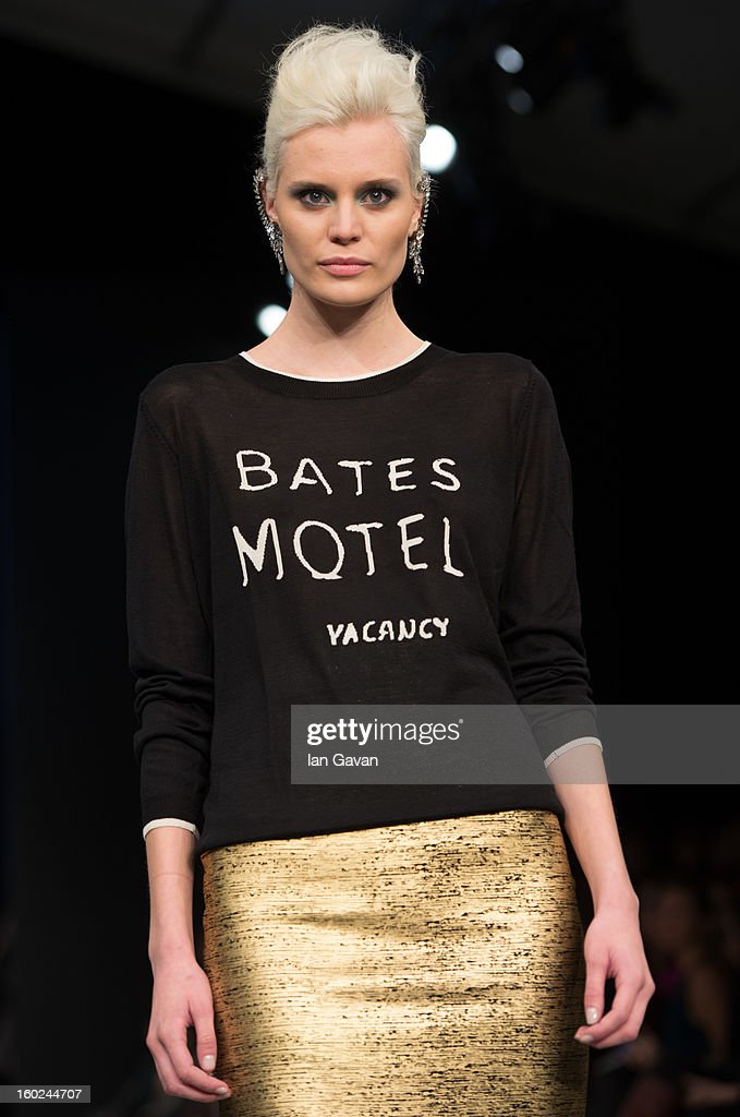 A model walks the runway during the Mayla show at Mercedes-Benz Stockholm Fashion Week A/W 13 at the Mercedes-Benz Fashion Pavilion on January 28, 2013 in Stockholm, Sweden.
