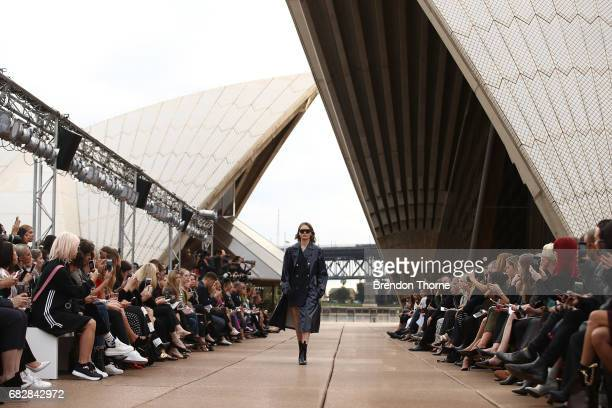 A model walks the runway during the MercedesBenz Presents Dion Lee show at MercedesBenz Fashion Week Resort 18 Collections at the Sydney Opera House...
