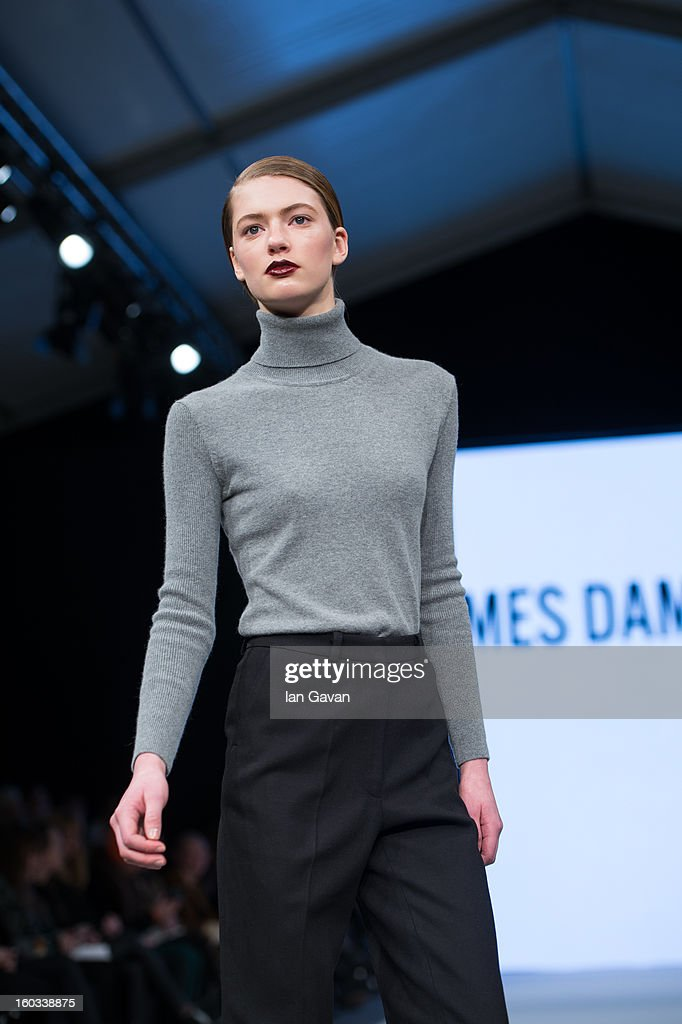 A model walks the runway during the Mes Dames show at Mercedes-Benz Stockholm Fashion Week Autumn/Winter 2013 at Mercedes-Benz Fashion Pavilion on January 29, 2013 in Stockholm, Sweden.