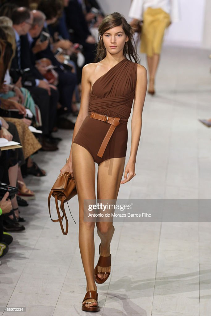 A model walks the runway during the Michael Kors show as a part of Spring 2016 New York Fashion Week at Spring Studios on September 16, 2015 in New York City.