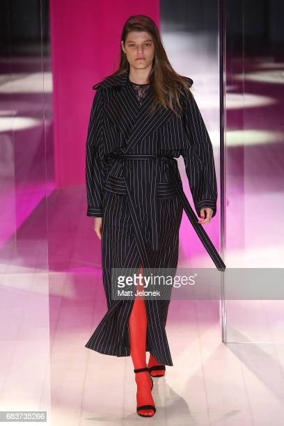 A model walks the runway during the Michael Lo Sordo show at MercedesBenz Fashion Week Resort 18 Collections at Carriageworks on May 16 2017 in...