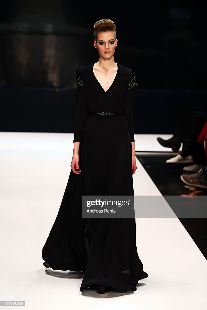 A model walks the runway during the Michalsky Style Nite Autumn/Winter 2013/14 Show at the Mercedes-Benz Fashion Week at Tempodrom on January 18, 2013 in Berlin, Germany.