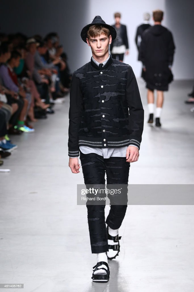 A model walks the runway during the Miharayasuhiro show as part of the Paris Fashion Week Menswear Spring/Summer 2015 at Palais de Tokyo on June 28, 2014 in Paris, France.