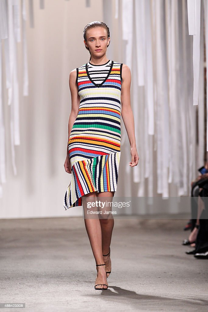 A model walks the runway during the Milly Spring/Summer 2016 fashion show at ArtBeam on September 15, 2015 in New York City.