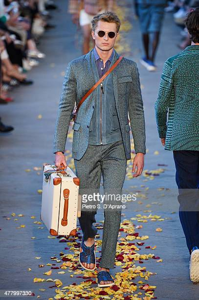 A model walks the runway during the Missoni fashion show as part of Milan Men's Fashion Week Spring/Summer 2016 on June 21 2015 in Milan Italy