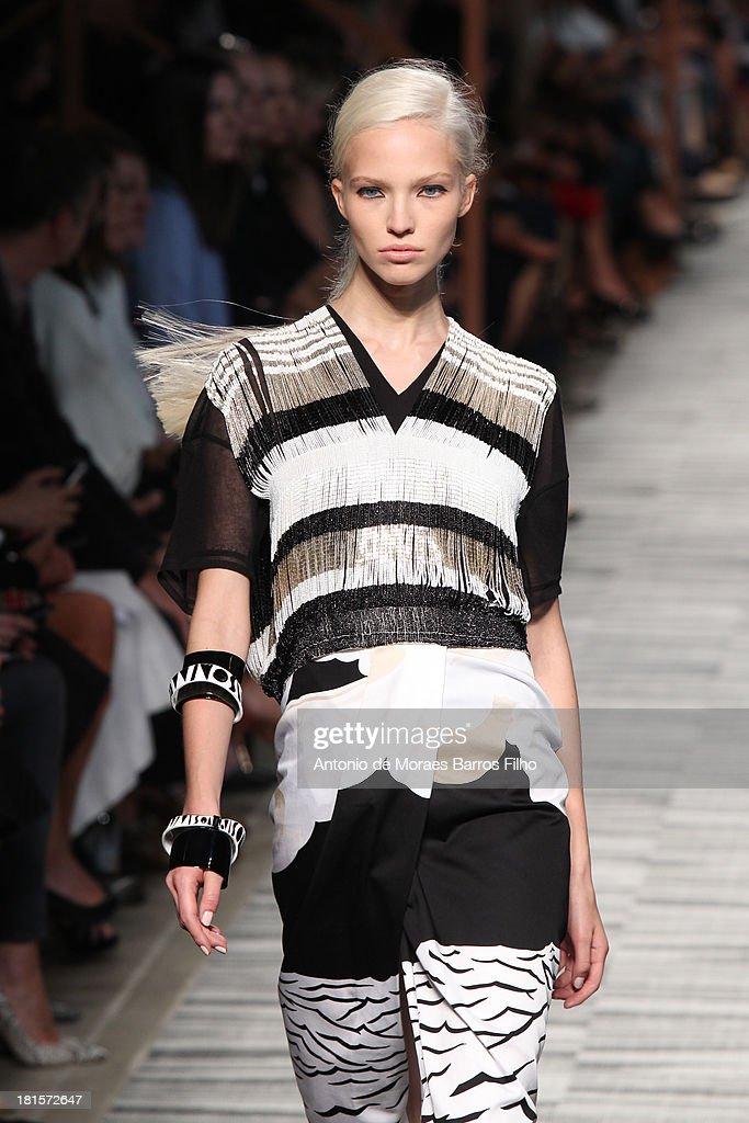 A model walks the runway during the Missoni show as a part of Milan Fashion Week Womenswear Spring/Summer 2014 on September 22, 2013 in Milan, Italy.