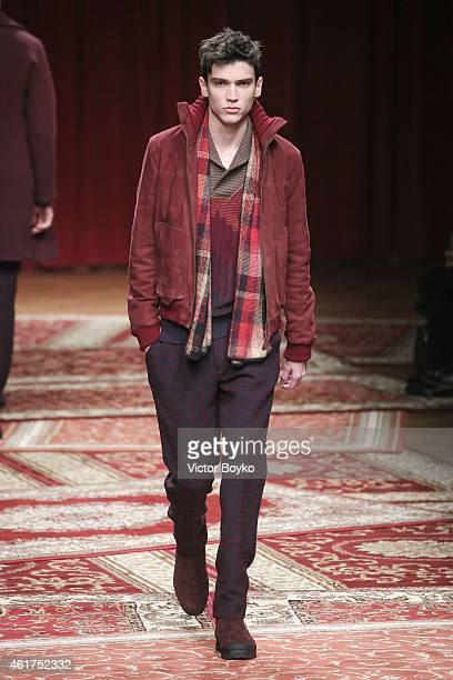 A model walks the runway during the Missoni show as a part of Milan Menswear Fashion Week Fall Winter 2015/2016 on January 18 2015 in Milan Italy