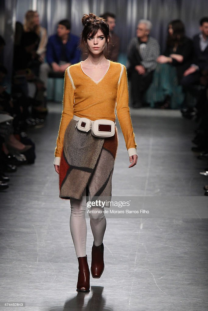 A model walks the runway during the Missoni show as a part of Milan Fashion Week Womenswear Autumn/Winter 2014 on February 23, 2014 in Milan, Italy.