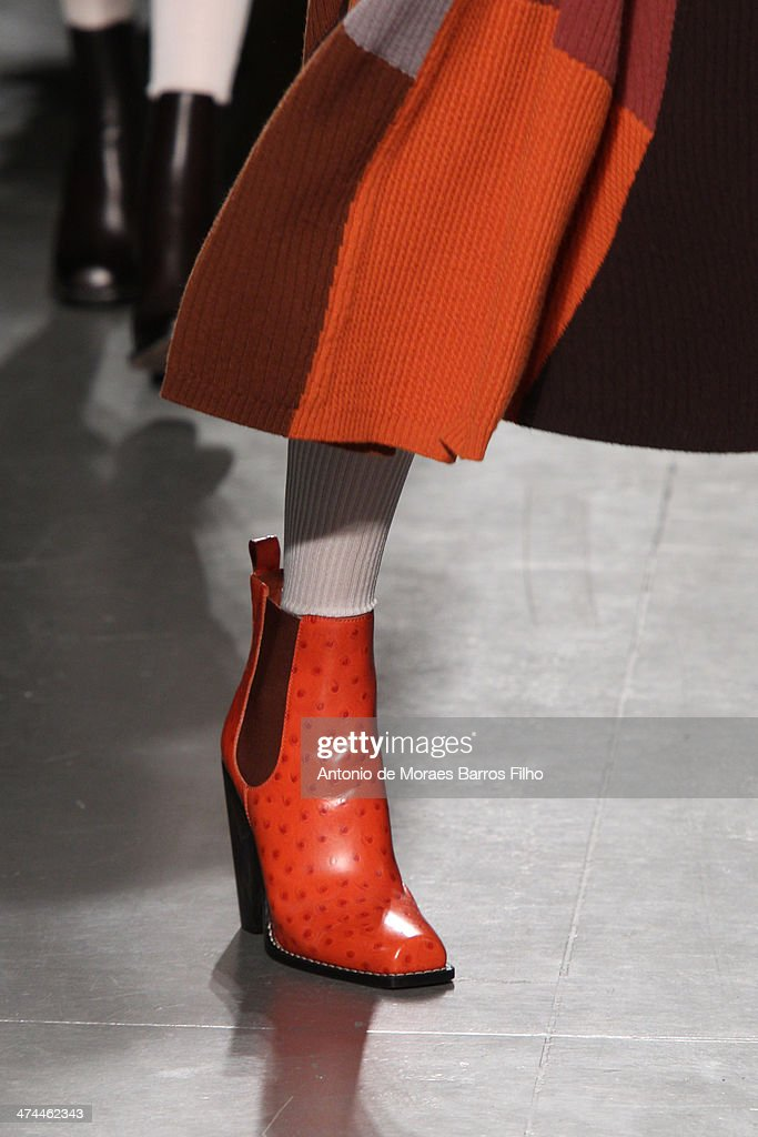 A model walks the runway (detail) during the Missoni show as a part of Milan Fashion Week Womenswear Autumn/Winter 2014 on February 23, 2014 in Milan, Italy.