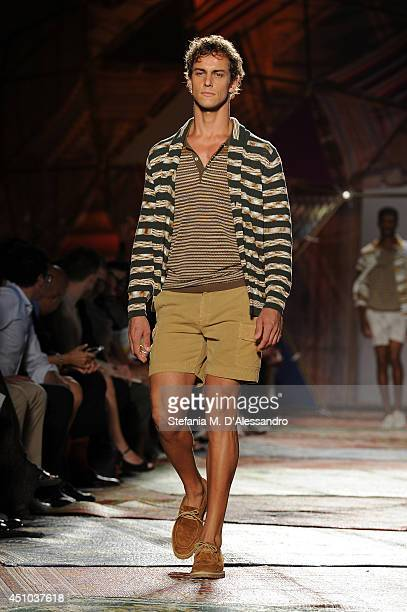 A model walks the runway during the Missoni show as part of Milan Fashion Week Menswear Spring/Summer 2015 on June 22 2014 in Milan Italy