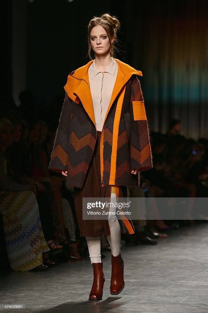 A model walks the runway during the Missoni show as part of Milan Fashion Week Womenswear Autumn/Winter 2014 on February 23, 2014 in Milan, Italy.