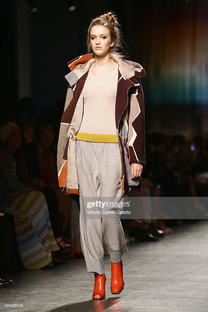 A model walks the runway during the Missoni show as part of Milan Fashion Week Womenswear Autumn/Winter 2014 on February 23 2014 in Milan Italy