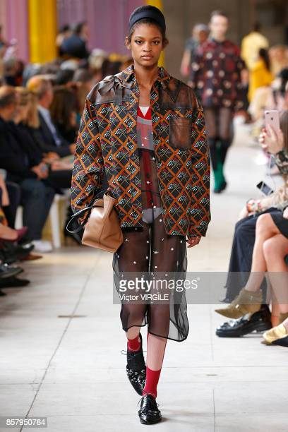 A model walks the runway during the Miu Miu Ready to Wear Spring/Summer 2018 fashion show as part of the Paris Fashion Week Womenswear Spring/Summer...