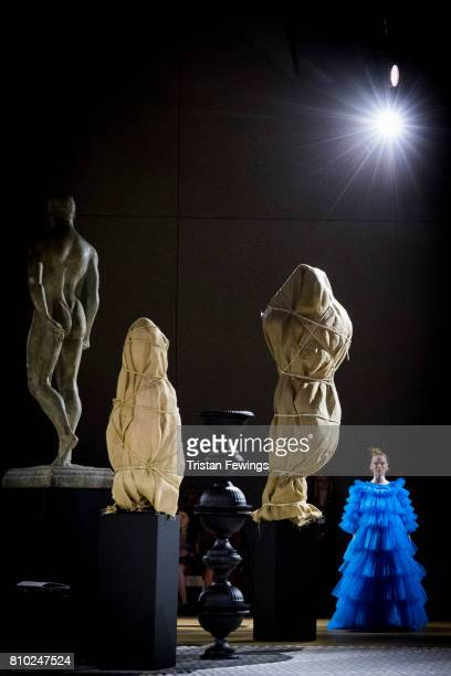 A model walks the runway during the Molly Goddard Fashion in Motion show at The VA on July 7 2017 in London England The Fashion in Motion show is...