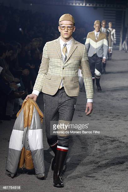 A model walks the runway during the MONCLER GAMME BLEU show as a part of Milan Menswear Fashion Week Fall Winter 2015/2016 on January 18 2015 in...
