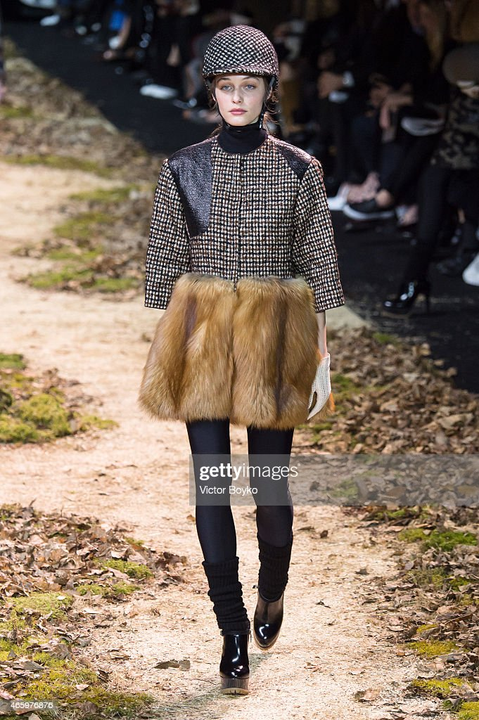 A model walks the runway during the Moncler Gamme Rouge show as part of the Paris Fashion Week Womenswear Fall/Winter 2015/2016 on March 11, 2015 in Paris, France.
