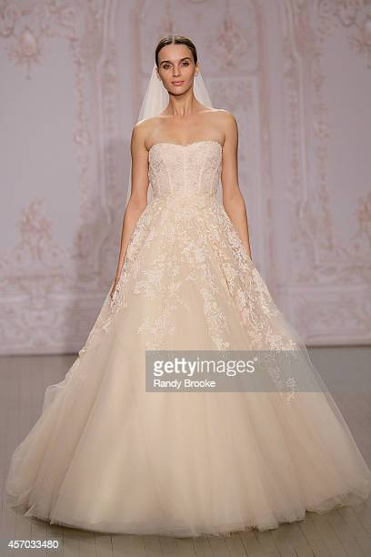 A model walks the runway during the Monique Lhuillier Fall 2015 Bridal Collection Show on October 10 2014 in New York City
