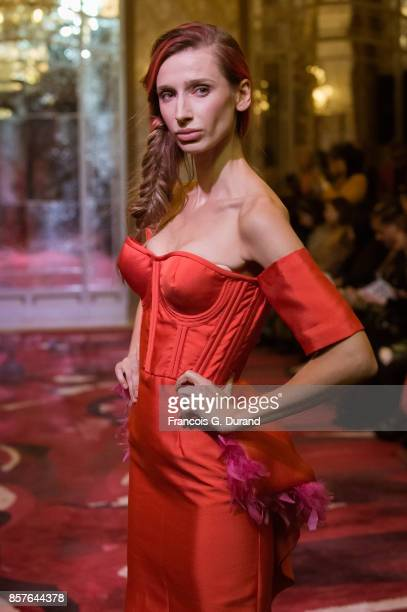 A model walks the runway during the Montaha Couture show as part of the Paris Fashion Week Womenswear Spring/Summer 2018 on October 4 2017 in Paris...