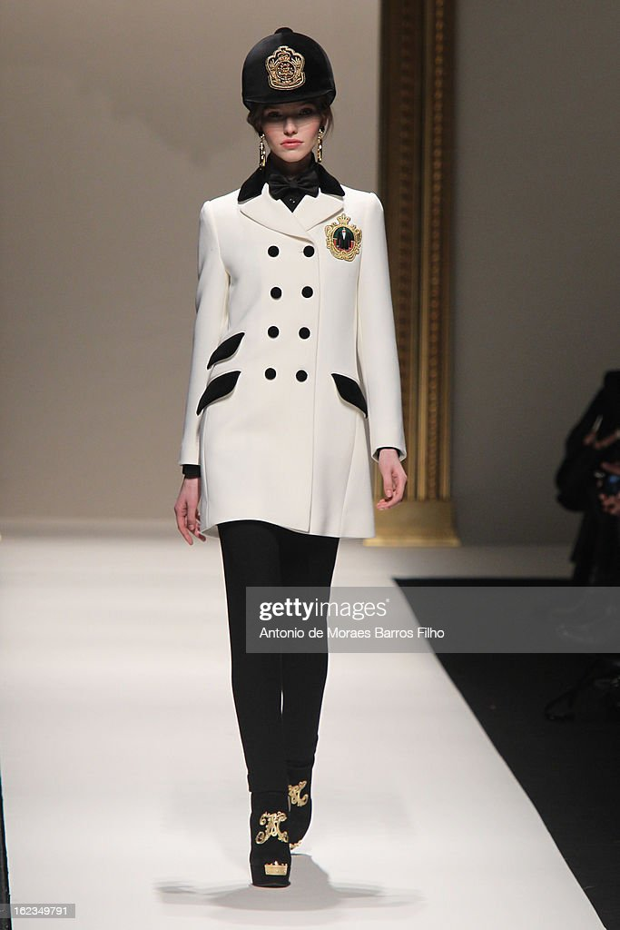 A model walks the runway during the Moschino show as a part of MFW F/W 2013 on February 22, 2013 in Milan, Italy.
