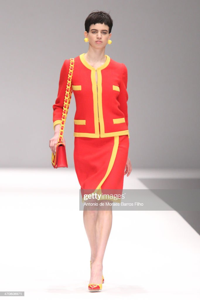 A model walks the runway during the Moschino show as a part of Milan Fashion Week Womenswear Autumn/Winter on February 20, 2014 in Milan, Italy.