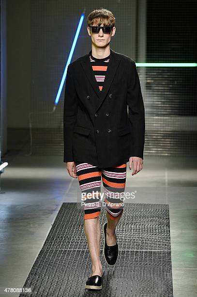 A model walks the runway during the MSGM fashion show as part of Milan Men's Fashion Week Spring/Summer 2016 on June 22 2015 in Milan Italy