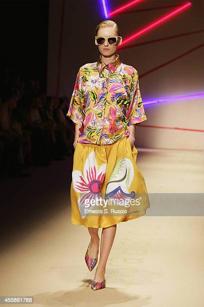 A model walks the runway during the MSGM Show as part of Milan Fashion Week Womenswear Spring/Summer 2015 on September 21 2014 in Milan Italy