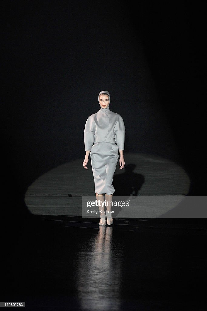 A model walks the runway during the Mugler Fall/Winter 2013/14 Ready-to-Wear show as part of Paris Fashion Week on February 27, 2013 in Paris, France.