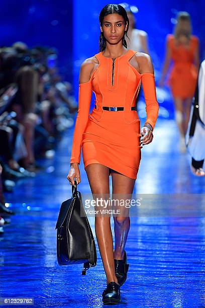 A model walks the runway during the Mugler Ready to Wear designed by David Koma fashion show as part of the Paris Fashion Week Womenswear...
