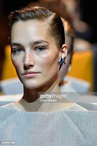 A model walks the runway during the Mugler Ready to Wear fashion show as part of the Paris Fashion Week Womenswear Fall/Winter 2017/2018 on March 4...