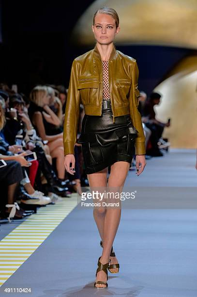 A model walks the runway during the Mugler show as part of the Paris Fashion Week Womenswear Spring/Summer 2016 on October 3 2015 in Paris France