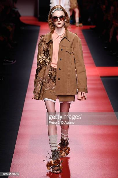 A model walks the runway during the N21 fashion show as part of Milan Fashion Week Spring/Summer 2016 on September 23 2015 in Milan Italy