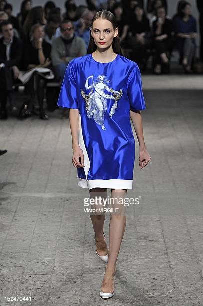 A model walks the runway during the N21 show as a part of Milan Fashion Week Womenswear S/S 2013 on September 19 2012 in Milan Italy